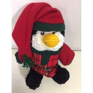 Winter Xmas Penguin Plush Stuffed Animal Red Plaid